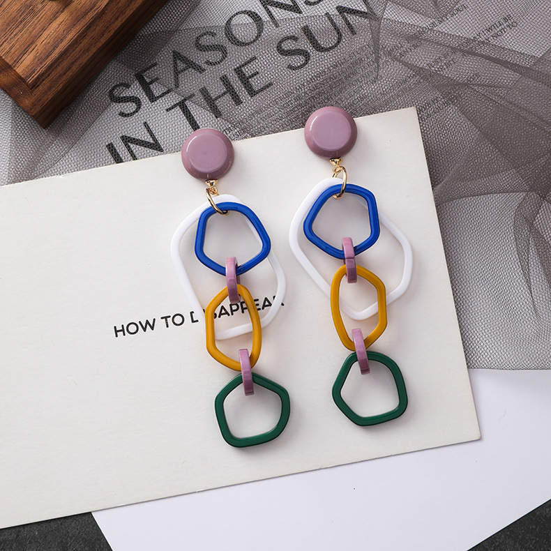 Fashion earrings exaggerated color irregular earrings personality acrylic long chain stud earrings