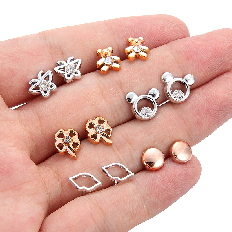 36pair/set Mix Style Gold Silver Color Flower Stud Earring Set Crystal Star Heart Earrings For Women Girl Fashion Jewelry Gift