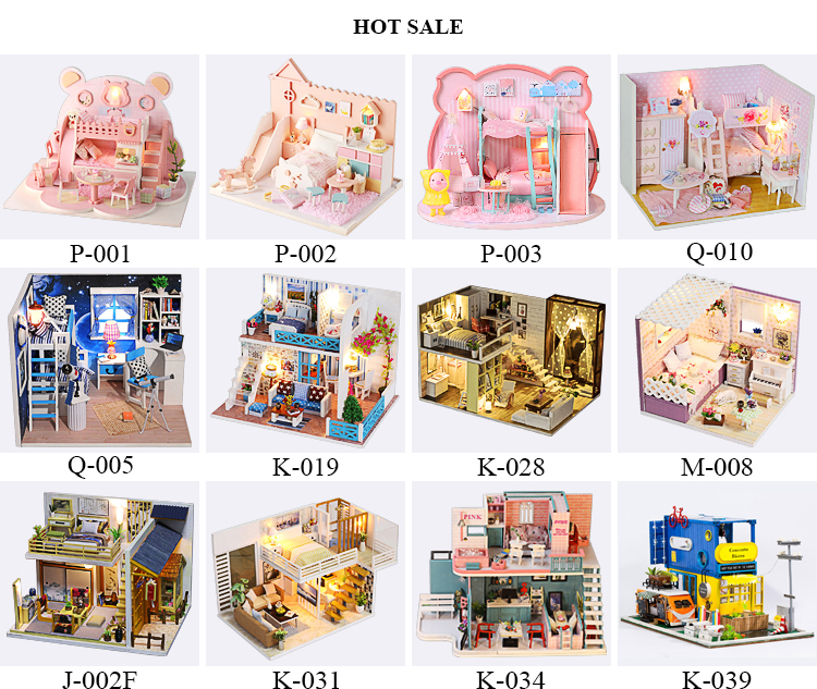Wooden Assembly Set Miniature Doll House Children Furniture Dollhouse