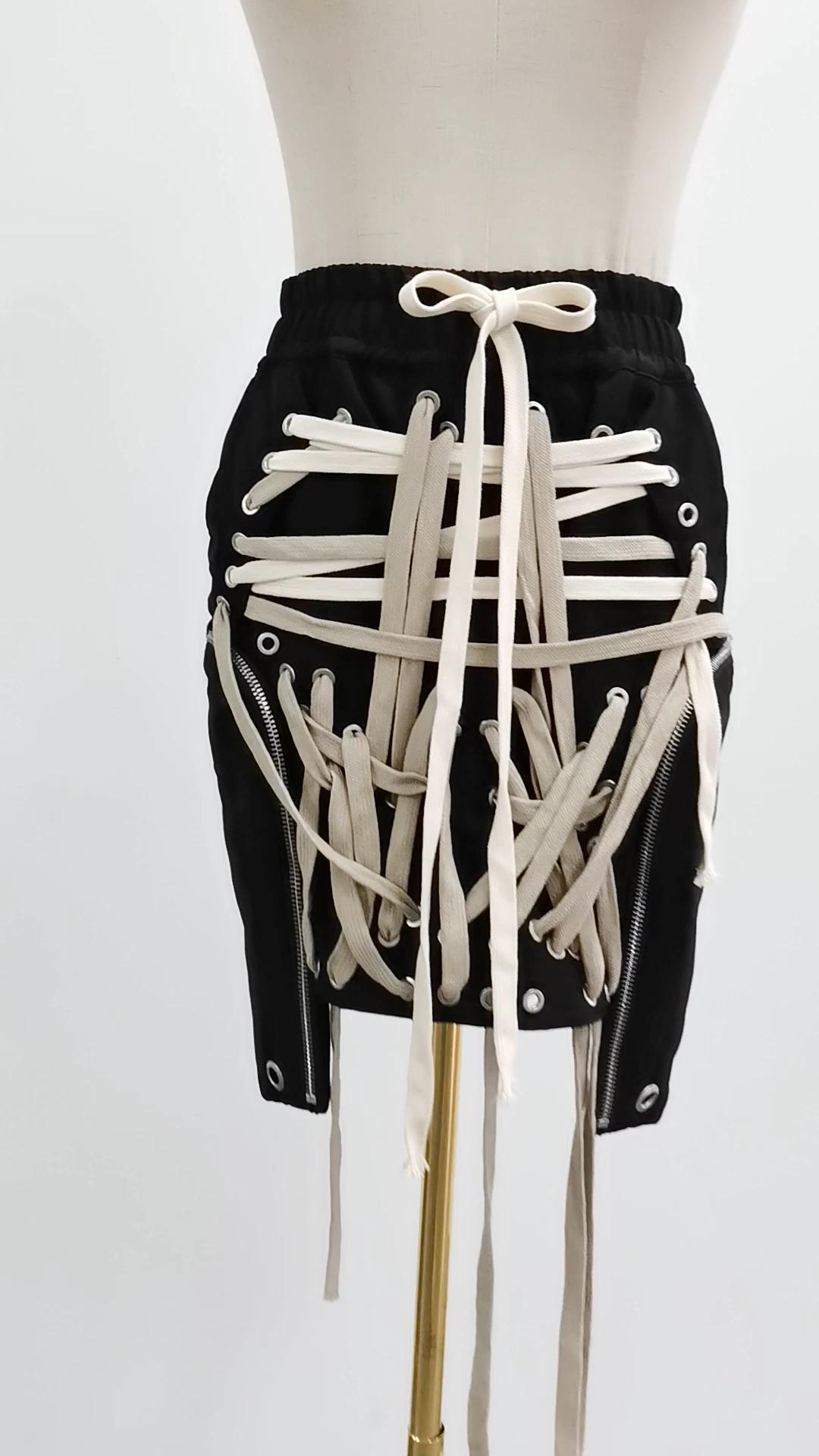 CHICEVER encaje Bowknot elástico cintura alta cintura faldas de alta calidad ropa de calle hueco Irregular falda de las mujeres