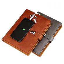 USB und power bank <span class=keywords><strong>notebook</strong></span> A5 <span class=keywords><strong>leder</strong></span> journal 6 ring binder PU planer
