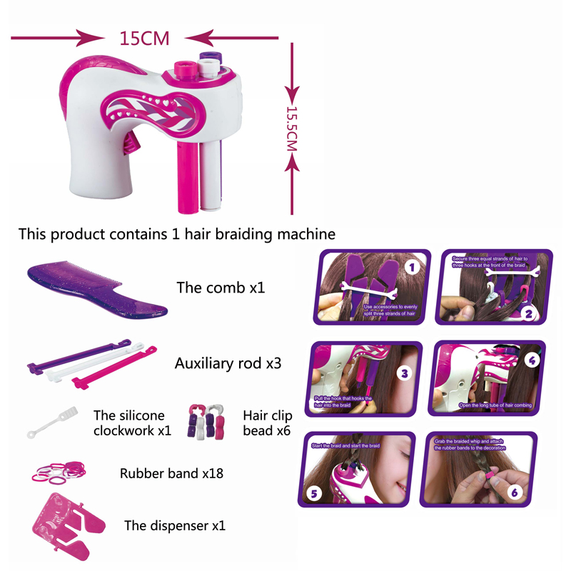 2020 Xmas Gifts Girls DIY Easy Braids Play Set Automatic Hair Braider Machine Toys for Kids