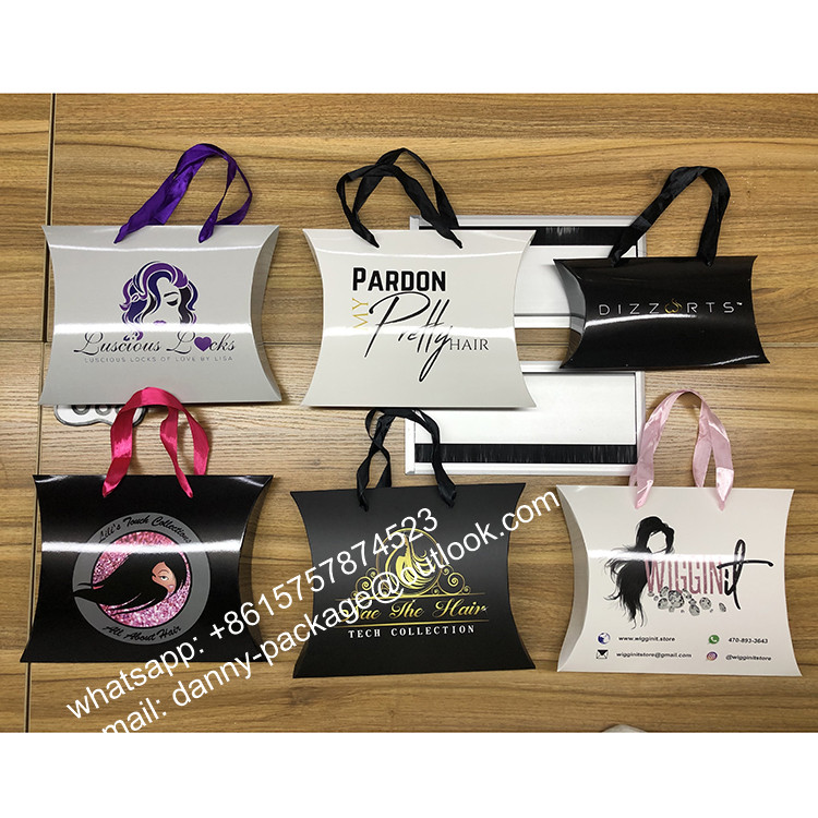 Elegant customized weave wig hair pillow box with ribbon handles for hair extension packaging