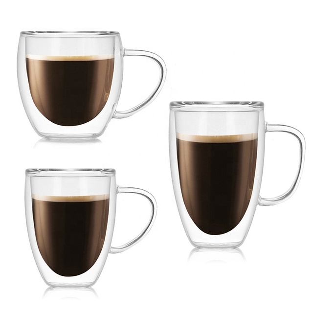 Daily Egg Shape Double Wall Glass Coffee Cup Beer Tea Mug Custom Printing Logo Glass Tumbler 250ml Cups with handle