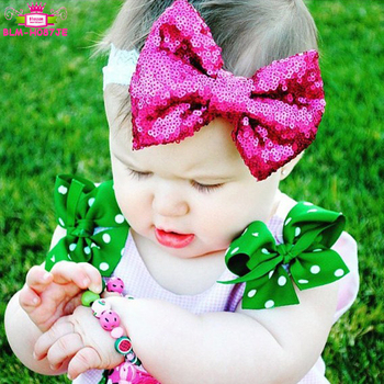 Cute Lace Band Sequin Big Bow Knot Headband Infant Toddlers Baby Headbands