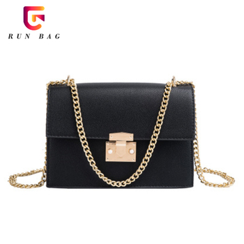 Wholesale Lock Chain Shoulder Bags Elegant Female Small Square Bag Leather Bags Women Handbags Lady