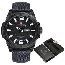 NAVIFORCE военные часы, мужские Модные Повседневные парусиновые Кожаные Спортивные кварцевые наручные часы, мужские часы(China)
