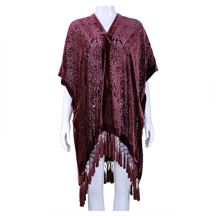 Burnout velvet kimono with crochet fringe Autumn Floral print wearable ruana High quality viscose kimonos for Female