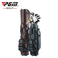Genuine Leather Stand golf bag with wheels