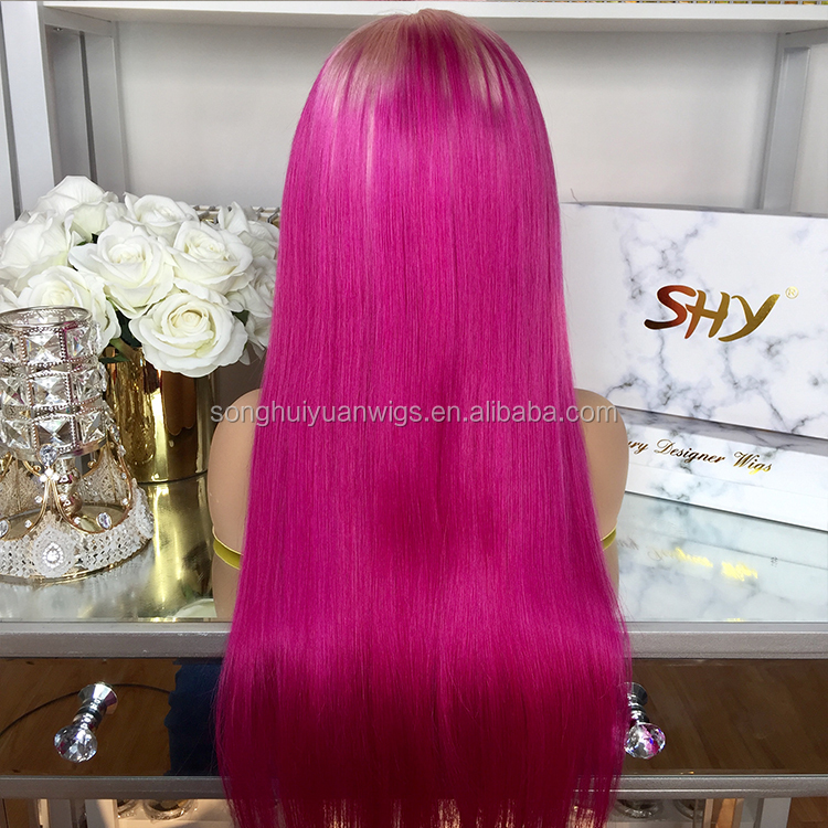 26 Inch 180% Density Silky Straight Two Tone Preplucked Full Lace Wigs Virgin Hair Transparent Ombre