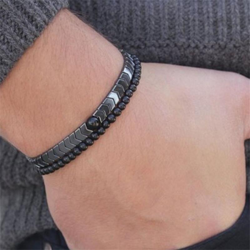 Nouveaux hommes De Mode Charme Hématite Bracelet Simple Fait Main Bracelet de Thérapie Magnétique