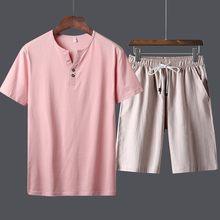 Летний Мужской Повседневный хлопковый комплект из двух предметов, шорты с эластичной талией, пляжный комплект, большой размер, спортивный к...(Китай)