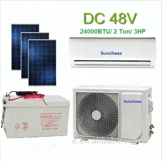 100% solar powered air conditioner system 9000BTU 48V A/C unit wall split type for room