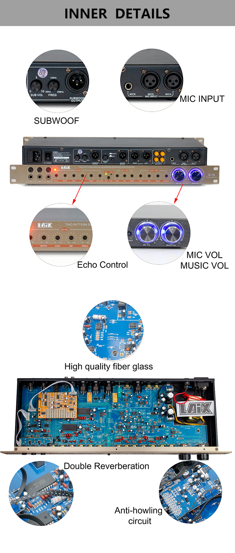 Laix LX-K10 Audio Digital Pre Effect Professional Sound System Audio Mixer Processor  Pre Amplifier Class AB Audio Effector
