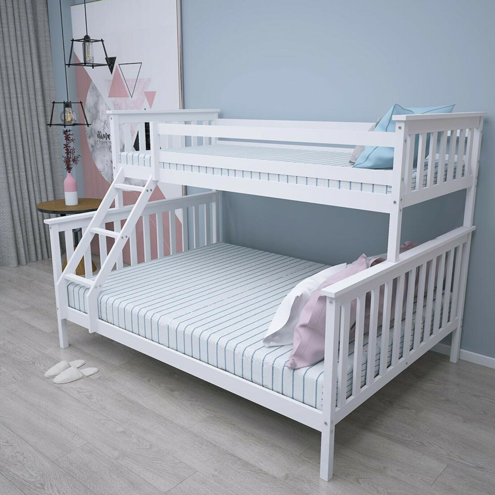 Picture of: Double Bed Bunk Bed Triple 3 Pine Wood Kids White Children Bed Frame With Stairs Buy Double Bed Wood Kids Cheap Bunk Bed Frames Product On Alibaba Com