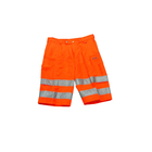 Two Tone Fluorescent Red High Visibility Reflective Safety Shorts Work Sweat Pants hi viz trousers