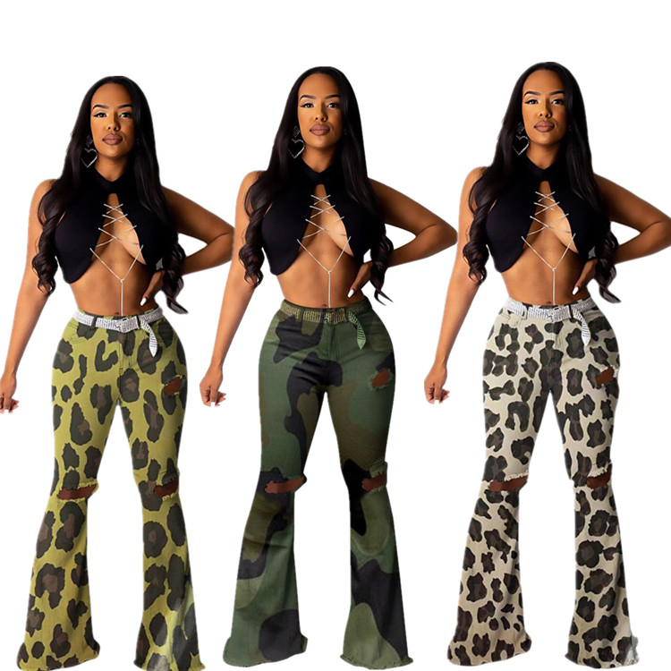 9082814 2019 mode camouflage gat mid taille bell-bottoms vrouwen Sexy flare Broek Voor Vrouwen