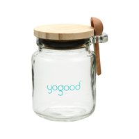Wholesale 7oz 200ml BPA free Small Glass Jelly Jar with Cork Lid Wooden Spoon for Salt, Sugar, Pudding, Honey
