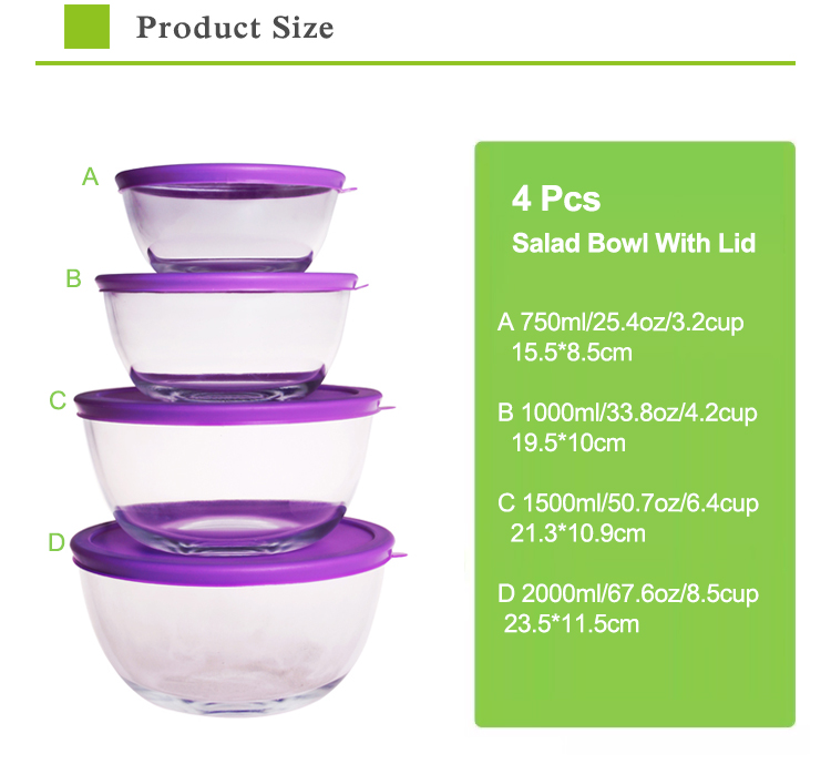 Borosilicate glass microwave oven glass serving bowl with lids