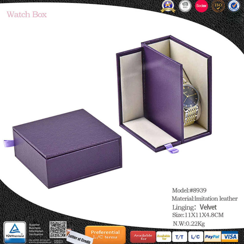 China factory vogue luxury custom leather 2 slots watch box