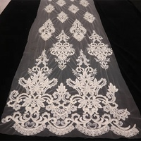 hot selling sequins embroidered Nigeria tulle lace fabric with handwork beads and cords