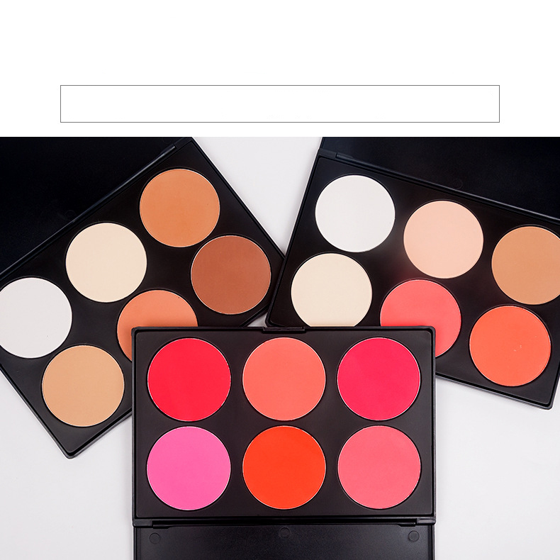 Wholesale 6colors Cosmetics Powder Blush Palette Shades for Beautiful Long Lasting Pigment Light