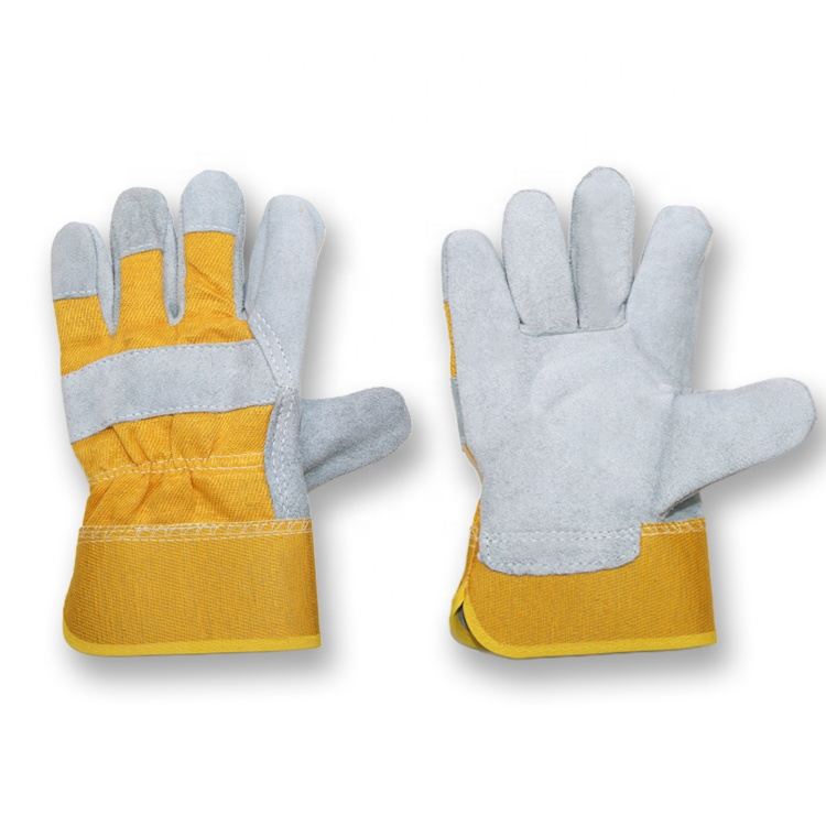 Heavy duty working construction warehouse cow split leather gloves