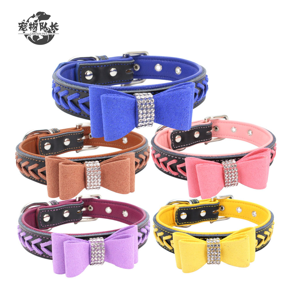 Custom Hand-Woven Leather Soft And Comfortable Gold Bow Tie Rhinestone Bow Pet Dog Collar
