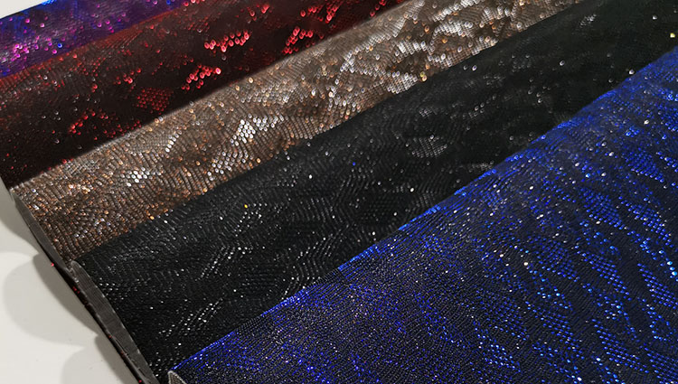 Synthetic textile crystal sequin glitter mesh PU material leather fabric for shoes bags