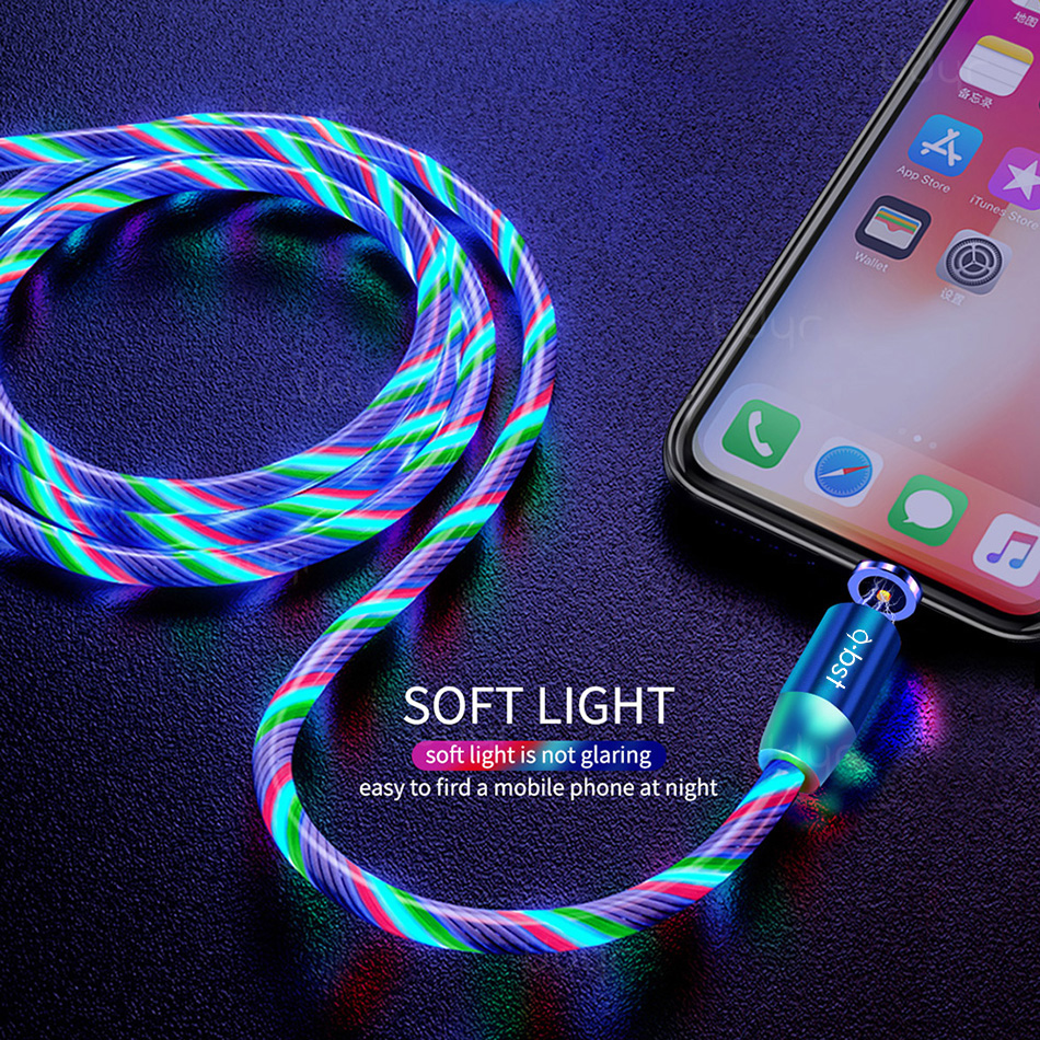 ABST Cell Phone Cable Magnetic Usb Charger 3 In 1 Usb Charging Data Led Usb Multi-Function Cables Magnetic led charging cable