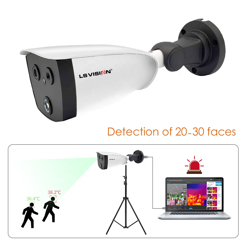 Professional AI Human Body Thermal Temperature Imaging Scanning IP Camera With Multiple Infrared Sensor For Outdoor Public Area