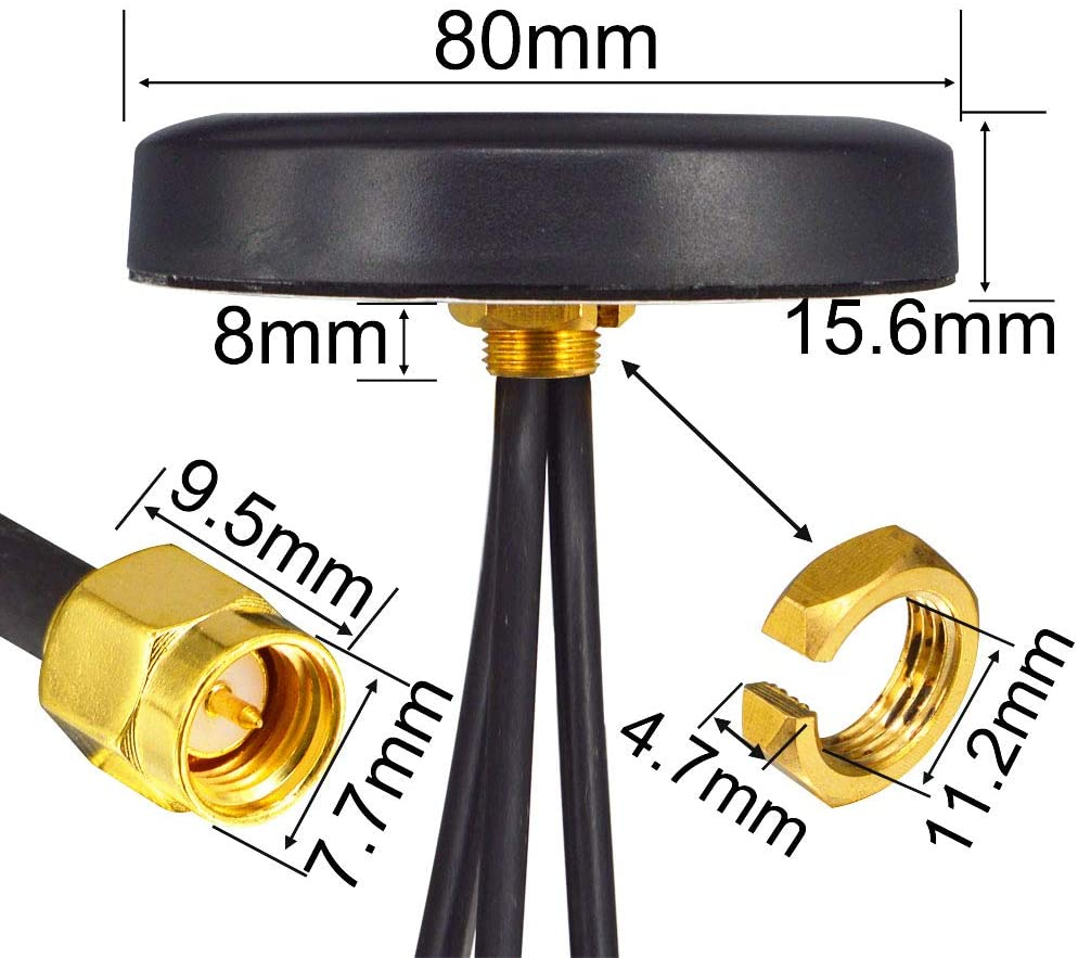 2020 new GSM/GPS/4G Triple band frequency actiive gps antenna with three sma male connector indoor vehicle use