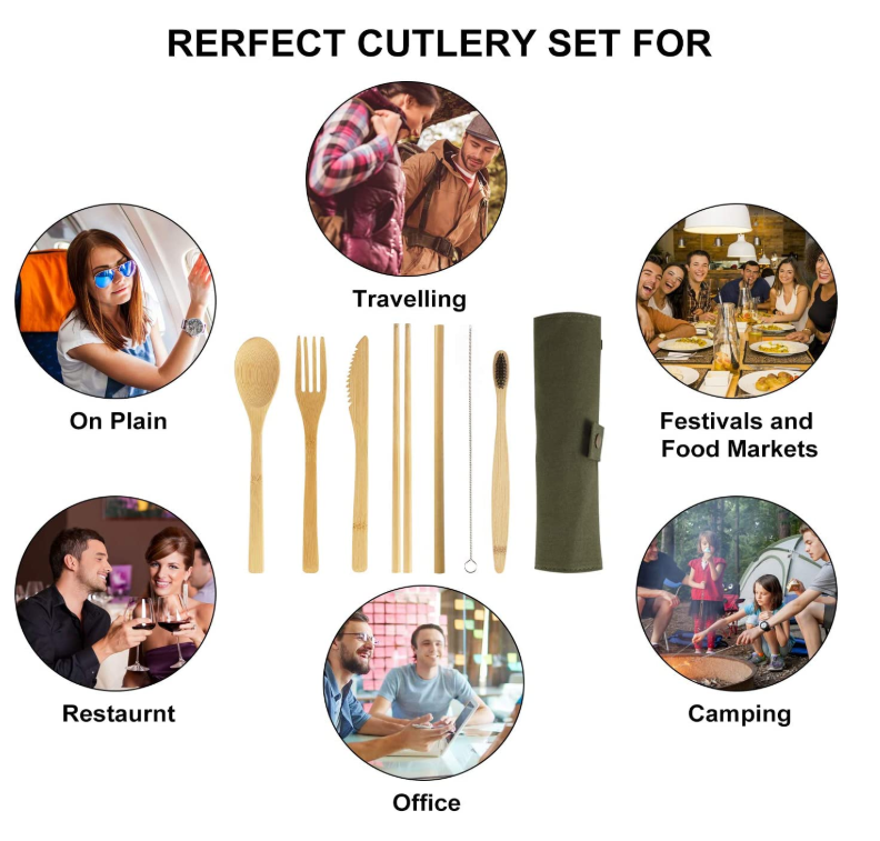 wholesale hot selling bamboo spoon fork set tableware cutlery set
