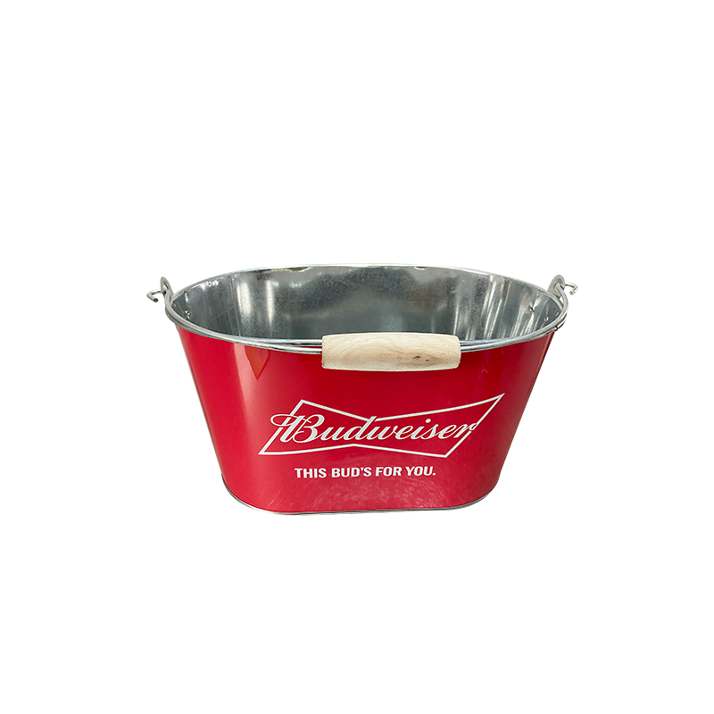 ice bucket with wooden Handles promotional bucket,metal bucket for sale with low price