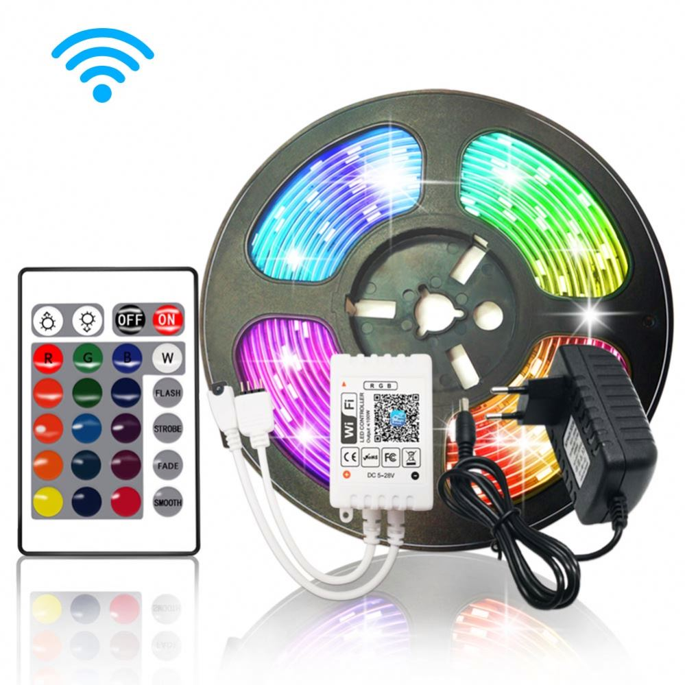 Color Changing Waterproof Flexible Led tape SMD 2835 5050 RGB LED Strip Light with 44 key IR Controller
