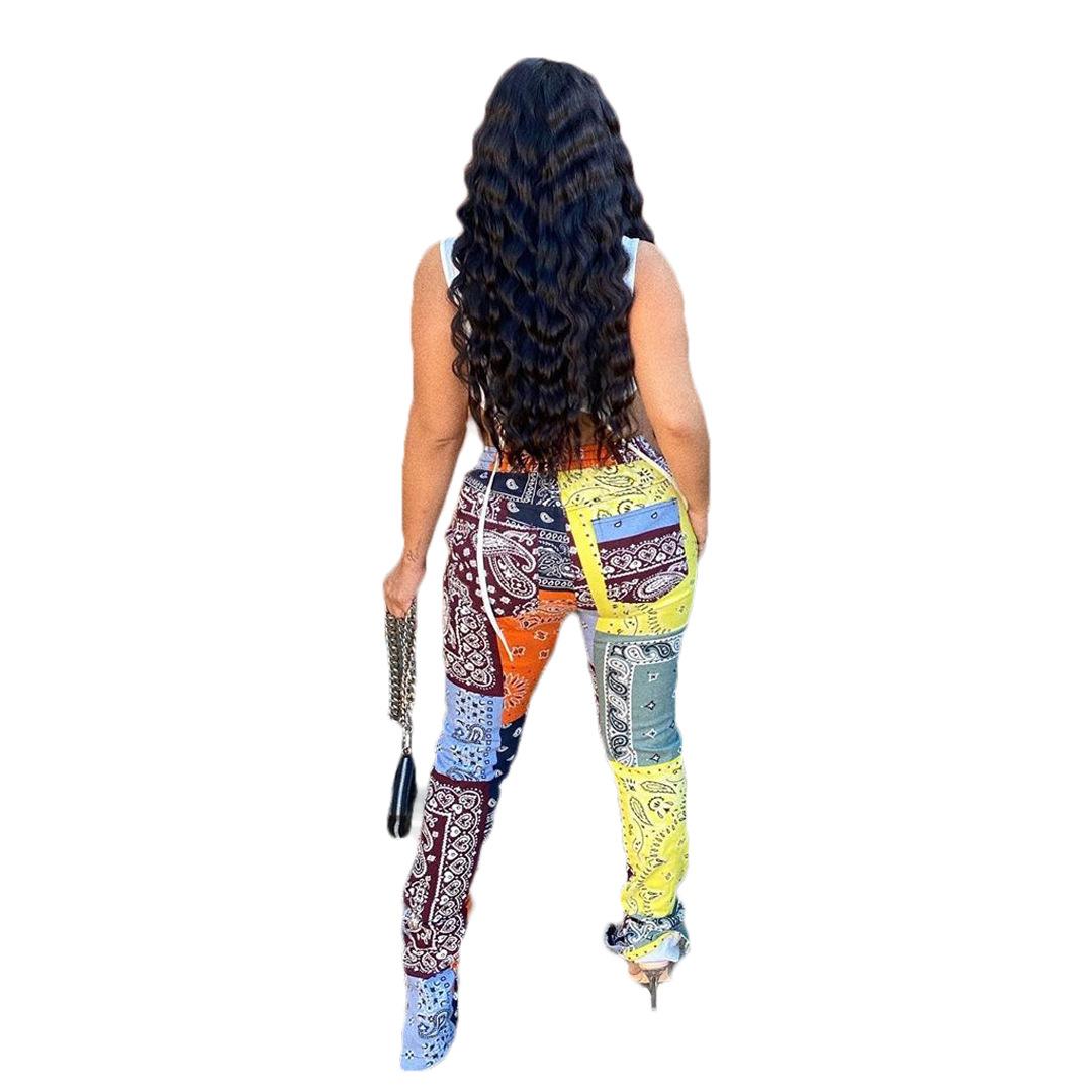 New arrival custom pattern fashion women split hem sweat pants bandana pants