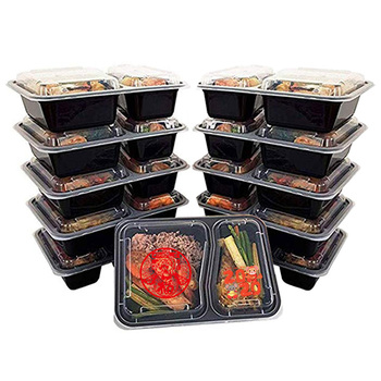 2019 Amazon Top Selling 2 Compartment Takeaway Disposable Plastic Food Containers with Lids