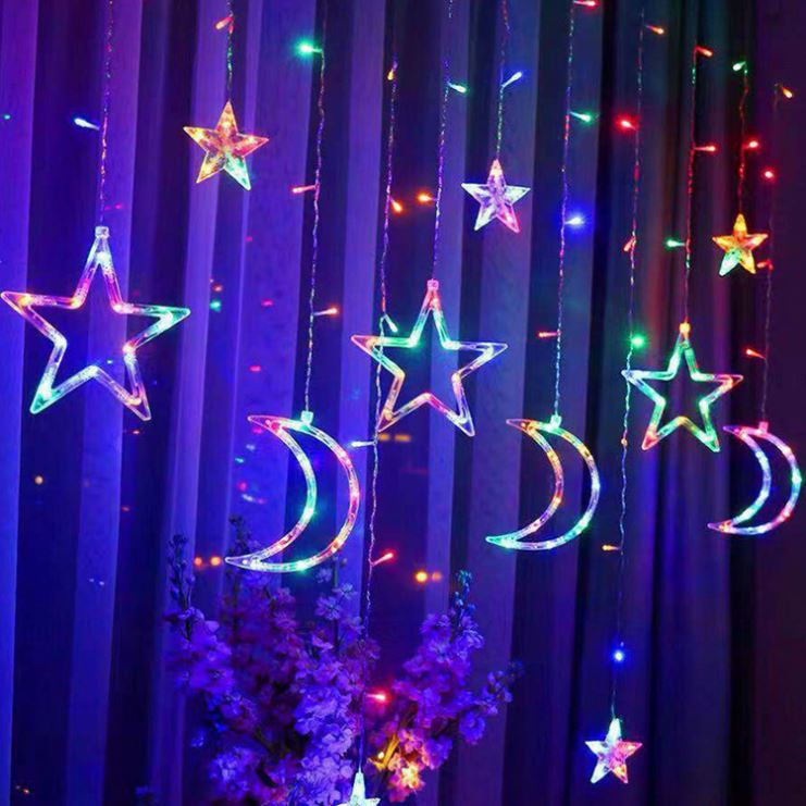 Led Curtain Light String 12 Stars 138 LED 8 Flash Modes Twinkle Star Light for Christmas Wedding Party Bedroom Decoration