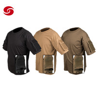Newest Functional Combat Army T shirt With Pouches Running/0utdoor/Tactical