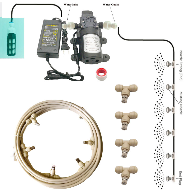 12V Water <strong>Spray</strong> Electric Diaphragm Pump Kit Portable Misting Automatic Water Pump 6-18M Misting Cooling System For Greenhouse