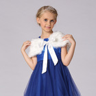 Girls Fancy Fur Cap Princess Party Dresses Clothing Children Prom Gown Dress Accessories Shawl