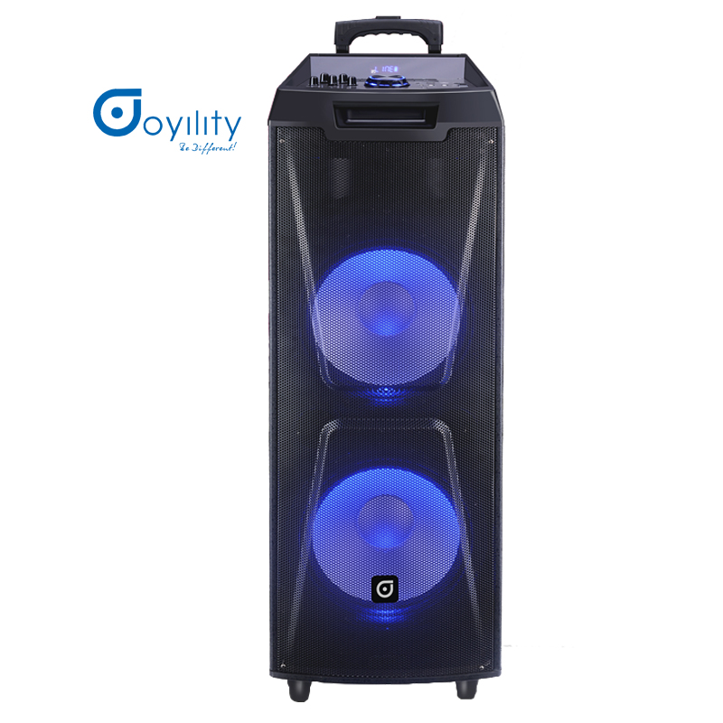 Rechargeable Double 12 inches speaker High Powered DJ Sound Stereo Loudspeaker Bluetooth Trolley Speaker