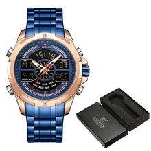 NAVIFORCE мужские часы, лучший бренд класса люкс из нержавеющей стали кварцевые мужские часы синий Водонепроницаемый Спортивные большие наручн...(China)
