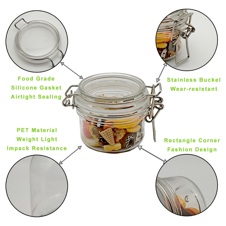 Small Round Size Cheap clear plastic spice jar for Kitchen Condiment Spices Material Storage