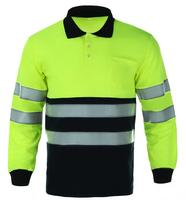 Hi Vis Visibility Custom Polyester Uniform Safety Two Color Long Sleeve POLO T-shirt