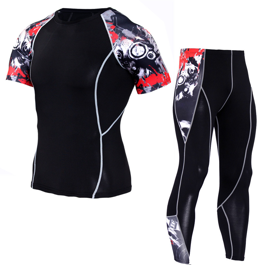 Men Sportswear Compression Sport Suits Quick Dry Running Sets Clothes Sports Joggers Training Gym Fitness Tracksuits Running Set 5