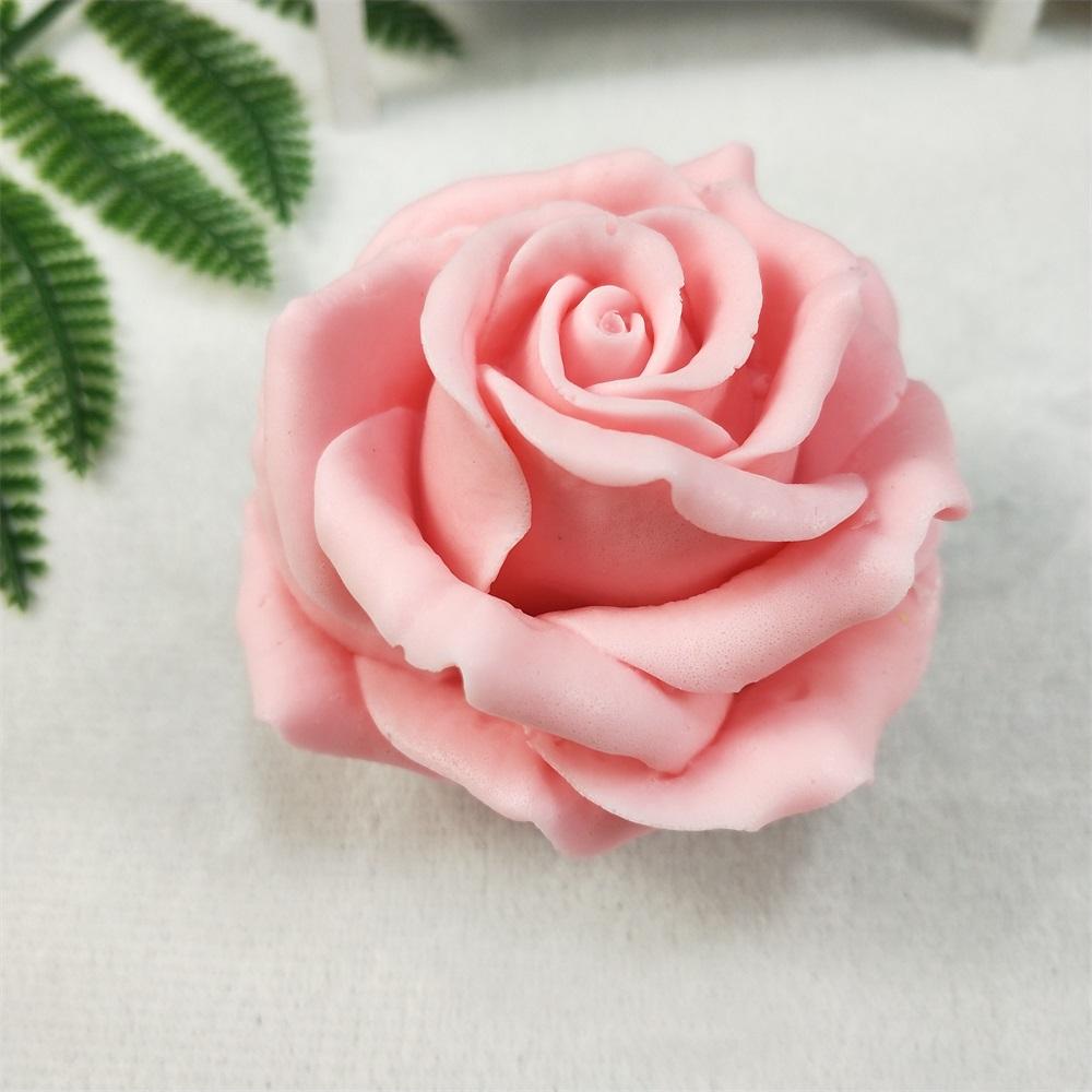Силиконовая форма для мыла HC0191 PRZY с 3D романтическим цветущим розовым свечом для украшения ручной работы
