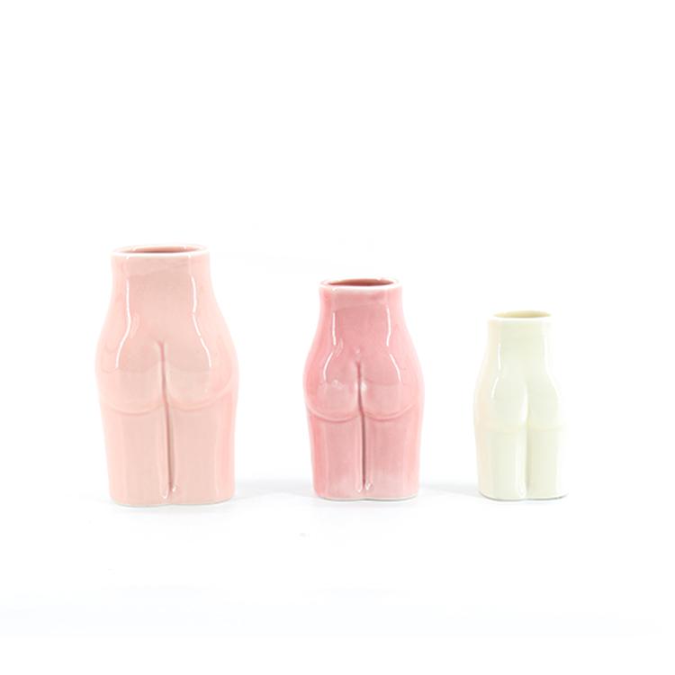 hot sale modern unique small size female women body shape ceramic vase home decorative