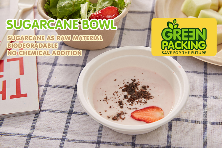 compostable sugarcane biodegradable bagasse salad soup round bowl with lid