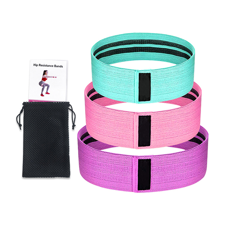 Wholesale custom 3 level resistance fabric fitness exercise workout loop yoga resistance bands